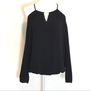 Michael Kors Cold Shoulder Long Sleeve Black Top M